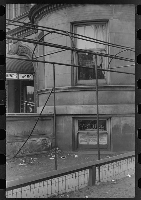 Nightclub, beauty shop, public baths and entrance to apartment, Black Belt, Chicago, Illinois