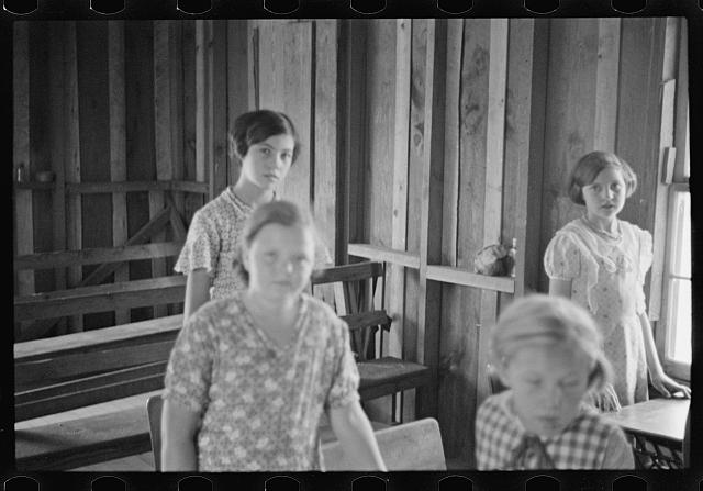 [Untitled photo, possibly related to: Interior of Ozark school, Arkansas]