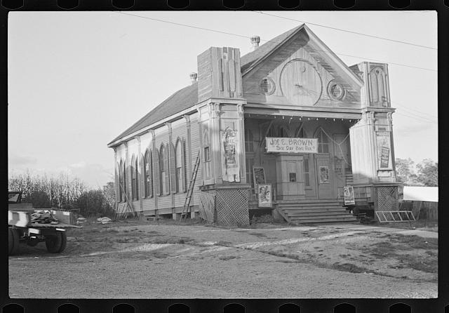 Church turned into a movie house, Woodville, Mississippi