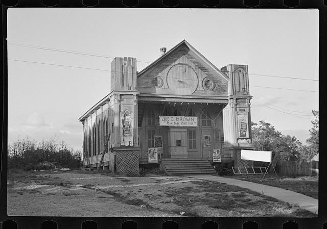 [Untitled photo, possibly related to: Church turned into a movie house, Woodville, Mississippi]
