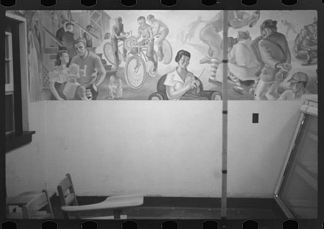 [Untitled photo, possibly related to: Mural at Westmoreland Homesteads, Pennsylvania]
