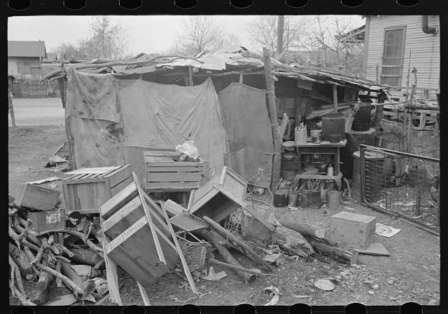 Home of Mexican squatters in San Antonio, Texas. They were receiving commodities from relief