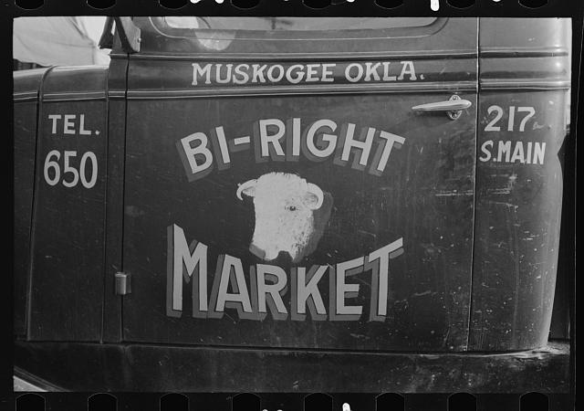 Sign on side of truck, Muskogee, Oklahoma
