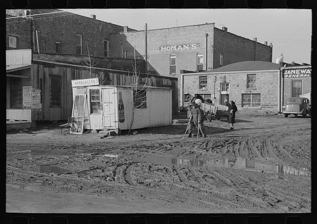 Hamburger stand and back of buildings on main street, Eufaula, Oklahoma