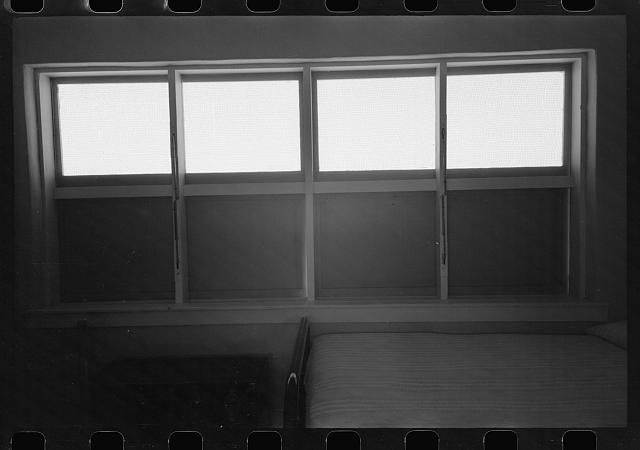 [Untitled photo, possibly related to: Windows in bedroom of family apartment at the Arizona Part-Time Farms, Chandler Unit, Maricopa County, Arizona. Cross ventilation is provided in all bedrooms on this project]