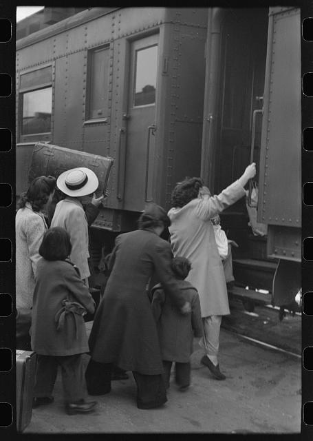 Los Angeles, California. The evacuation of the Japanese-Americans from West Coast areas under U.S. Army war emergency order. Boarding a train for Owens Valley