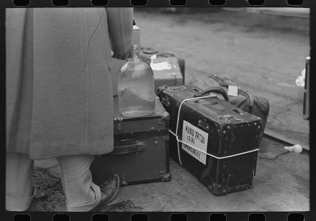 Los Angeles, California. The evacuation of Japanese-Americans from West Coast areas under U.S. Army war emergency orders. Baggage of Japanese-American who is being evacuated