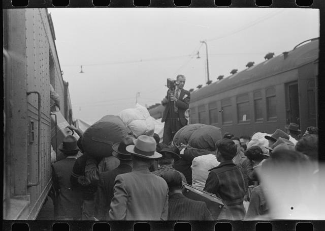 [Untitled photo, possibly related to: Los Angeles, California. The evacuation of Japanese-Americans from West Coast areas under U.S. Army war emergency order. Leaving for Owens Valley]