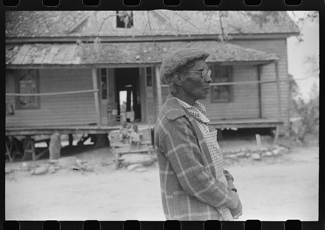 [Untitled photo, possibly related to: This seventy-nine year old woman plans to go to Tennessee to live with one of her children there. Eight of her children have left their home in Heard County. Southern section of Heard County, Georgia]