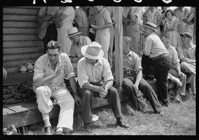 Spectators at auction sale of house and household goods, York County, Pennsylvania