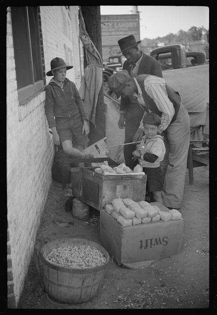 Selling peanuts on Saturday afternoon, Clarksdale, Mississippi Delta, Mississippi