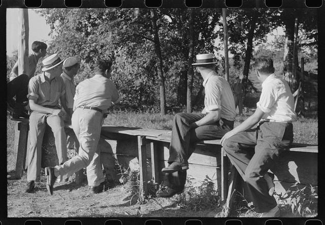 """Ball-throwing game"" on the grounds of St. Thomas Church at a benefit picnic supper. Near Bardstown, Kentucky"
