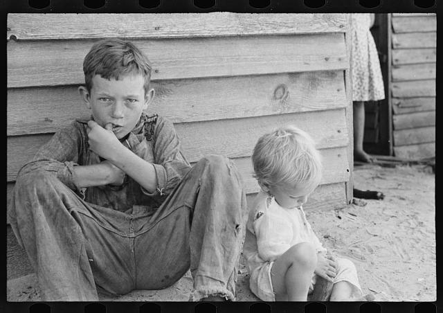 [Untitled photo, possibly related to: Floyd Burroughs, Jr., and Othel Lee Burroughs, called Squeakie. Son of an Alabama cotton sharecropper]