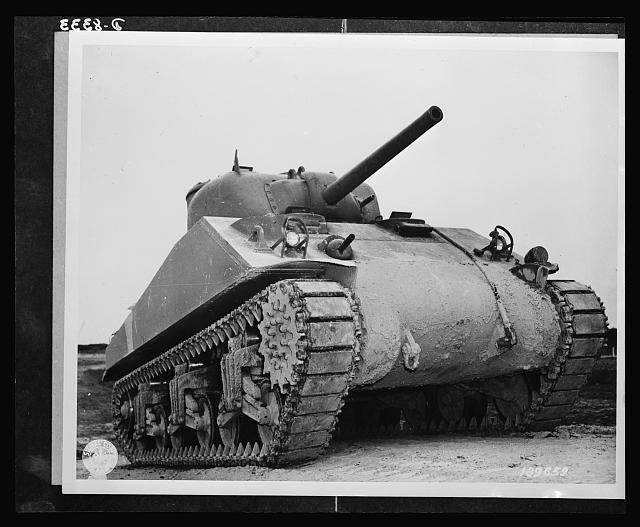M-4 tanks. M-4's are thoroughly tested before being shipped to the battlefront. The tank shown here, at the Aberdeen, Maryland, proving grounds carries both cannon and machine gun in the revolving turret. This is the welded hull construction