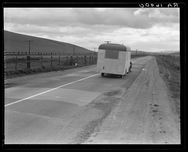 "Note on ""mobile housing."" Car and homemade trailer on U.S. 101 near King City. Man and wife, middle-aged, from Wisconsin to California. ""Old Man Depression sent us out on the road. Been out two years. You don't know anything about how many people are living in trailers, till you 'hit' Florida"""