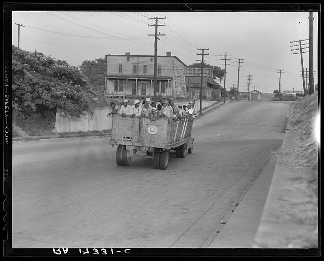The last truckload of cotton hoers from Memphis bound for the Wilson Cotton Plantation in Arkansas, forty-three miles distant