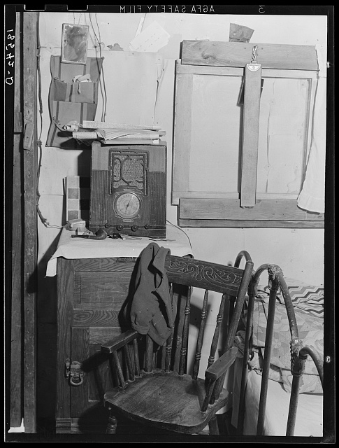 Inside of one-room shack of Rural Rehabilitation client. Tulare County, California