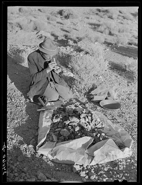 Prospector testing ore samples. Esmeralda County, Nevada