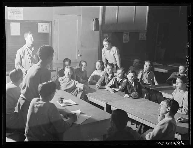 Meeting of Baseball Club. Tulare migrant camp. Visalia, California