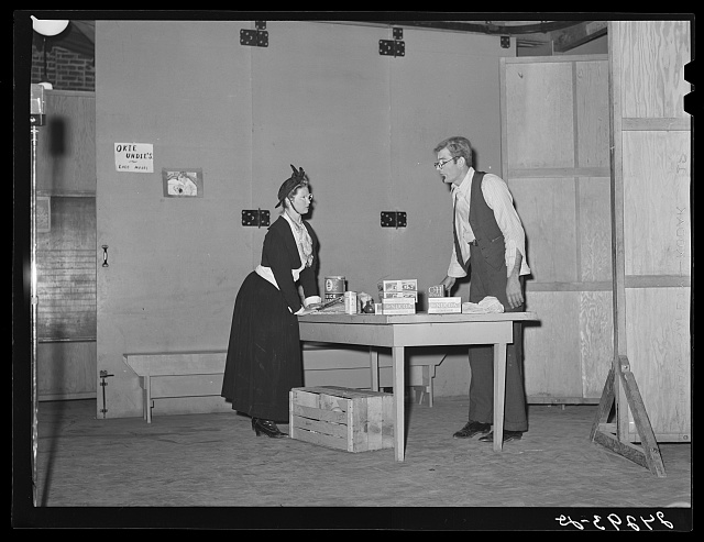 Play given by visiting Arvin camp. Tulare migrant camp. Visalia, California