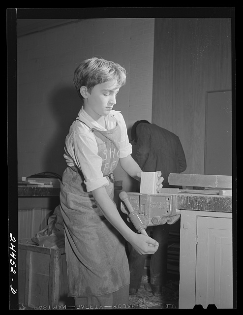 Boy in shop class who was shop foreman for the week. Homestead school.  Dailey, West Virginia