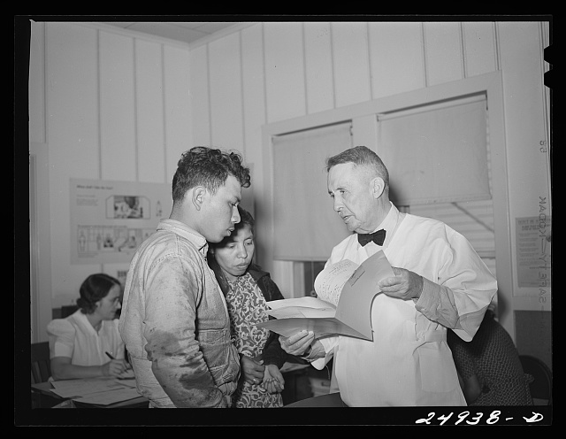 Corpus Christi, Texas. Privately supported tuberculosis clinic supervised by a doctor. Majority of the patients are Latin-American. Making plans for medical care