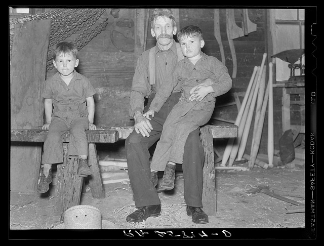 French-Canadian inhabitant of Lowell, Vermont, and his grandchildren