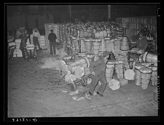 Unloading crates of cabbages at produce market, pier 29, New York City