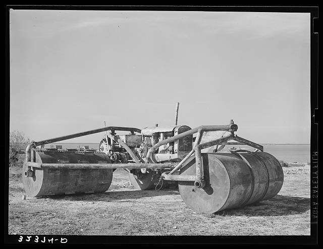 Rolling machine used along Nueces Bay. Corpus Christi, Texas