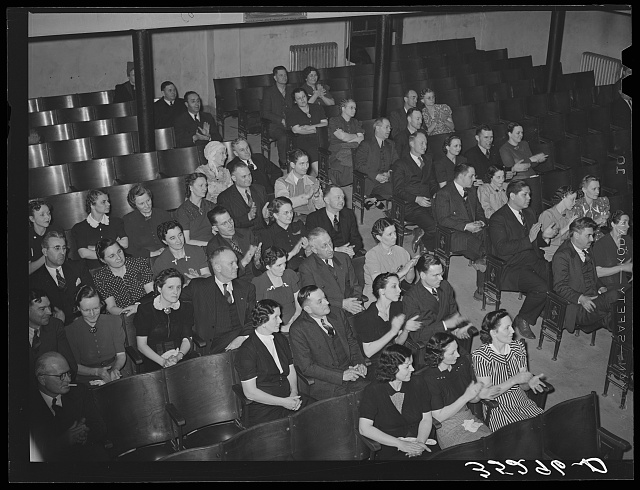 Jaycee members and their wives listening to the program which followed supper. Eufaula, Oklahoma. See general caption number 25