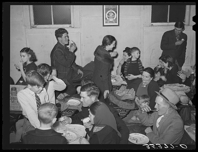 Eating pie at pie supper in Muskogee County, Oklahoma. See general caption number 24