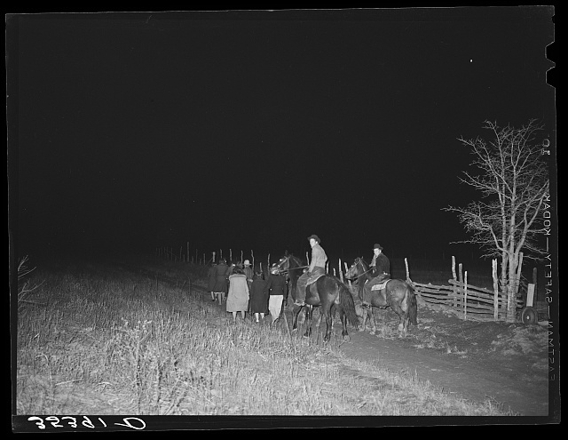 People leaving play party in McIntosh County, Oklahoma. See general caption 26