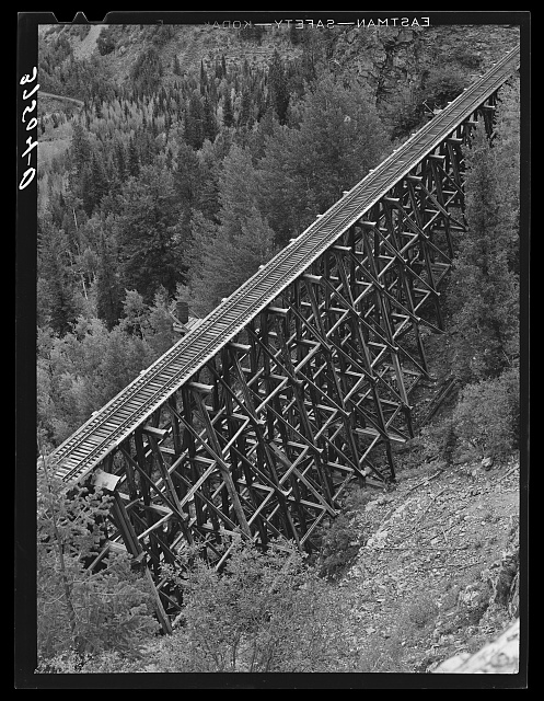 Trestle of narrow gauge railroad near Ophir, Colorado