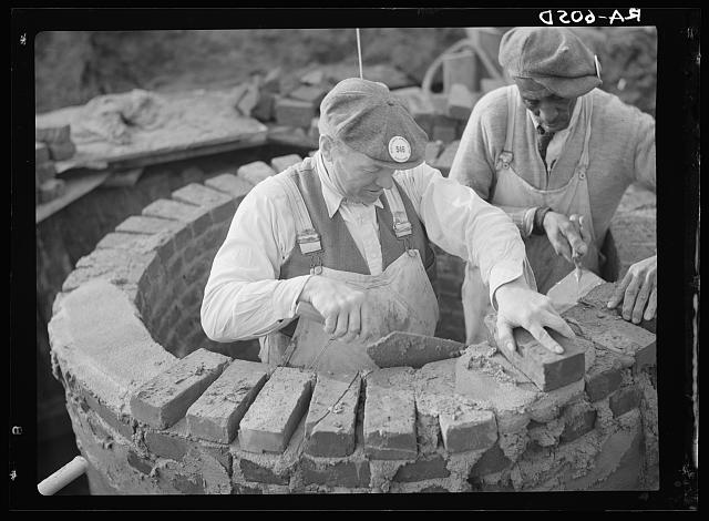 Stone masons at work at Hightstown, New Jersey