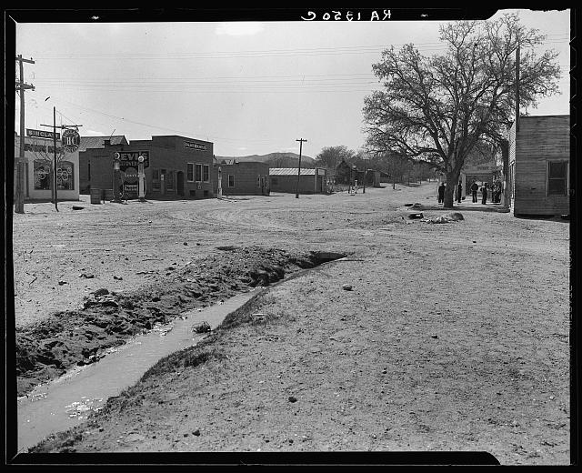 Main street of town. Shows irrigation ditch. Escalante, Utah