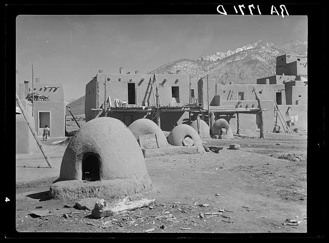 Ovens used for cooking and baking at Taos Pueblo, New Mexico
