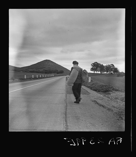 """""""The trek of bums, tramps, single transients, and undesirable indigents out of Los Angeles County because of police activity."""" California"""