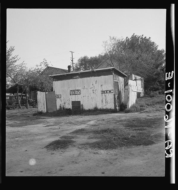 Privy in cheap migratory camp. San Joaquin Valley, California