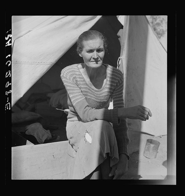 "Dust bowl refugee from Chickasaw, Oklahoma. Imperial Valley, California. ""Black Sunday, 1934, that was the awfullest dust we ever did see"""