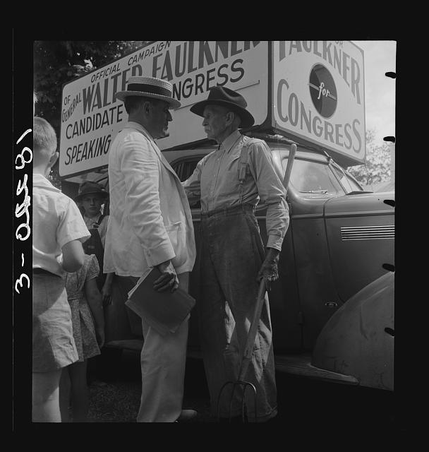 Candidate for congress (General Walter Faulkner) and a Tennessee farmer. Crossville, Tennessee
