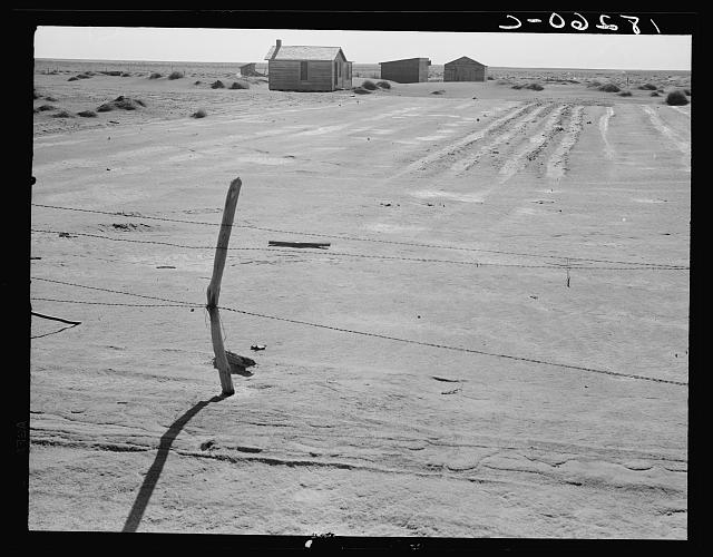 Abandoned farm in the Dust Bowl. Coldwater District, near Dalhart, Texas