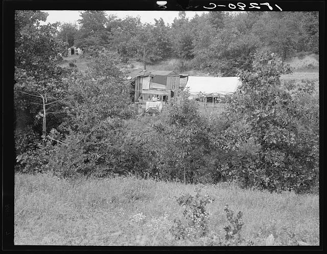 """Scratch Hill,"" outside Atoka, Oklahoma. Atoka County, Oklahoma. ""Most of the people here have farmed, now they're on Work Projects Administration at twenty-three dollars and ten cents a month. Their hold to this country used to be timber work, but that's cut out"""