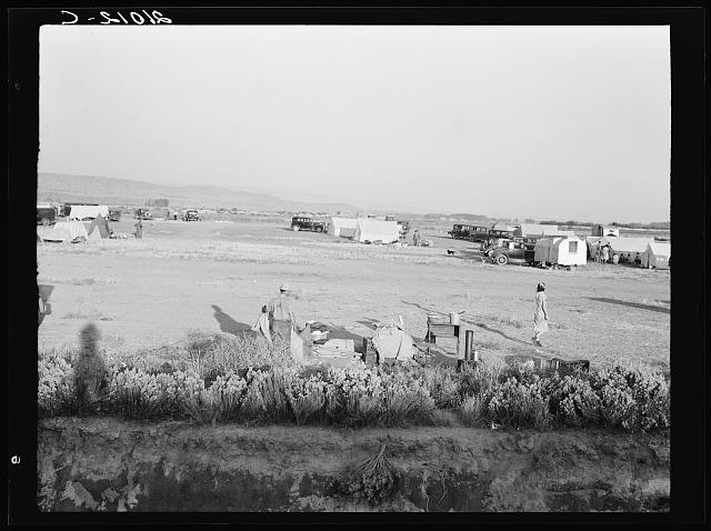 Families camped on flat before season opens, waiting for the Farm Security Administration (FSA) mobile unit to open. No sanitation, no water. Near Merrill, Klamath County, Oregon