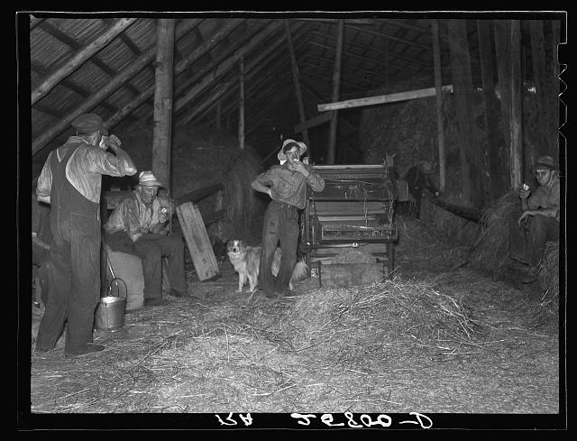 Threshing hands resting. Caledonia County, Vermont