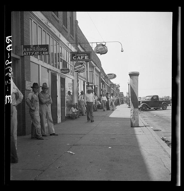 Main street during 1936 drought. Sallisaw, Sequoyah County, Oklahoma