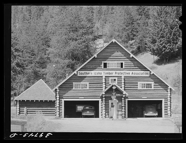 Garage at headquarters of the Southern Idaho Timber Protective Association. Valley County, Idaho
