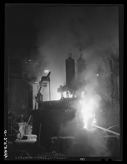 The electric furnace in the foundry at the Farrell-Birmingham Corporation. Ansonia, Connecticut