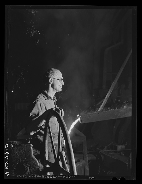 A worker in the foundry of the Forrell-Birmingham Corporation. Ansonia, Connecticut
