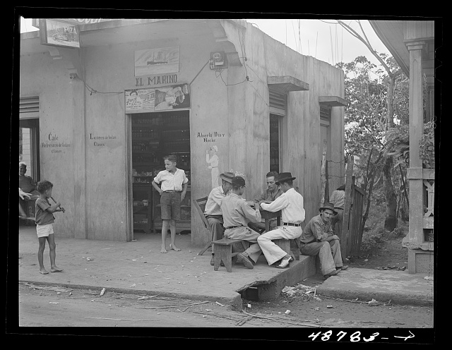 Bayamon, Puerto Rico. Card game on a street