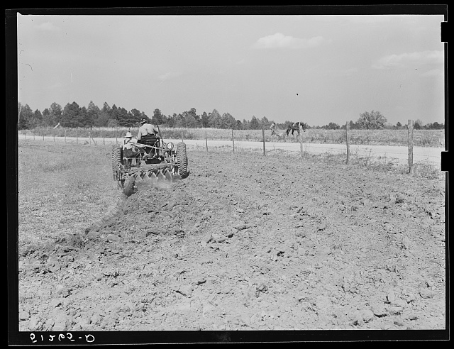 Tractor and one-mule plow in adjacent fields. Greene County, Georgia